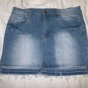 Denim Mini Skirt With Fringe Bottom